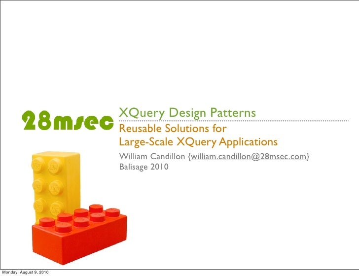 XQuery Design Patterns                          Reusable Solutions for                          Large-Scale XQuery Applica...