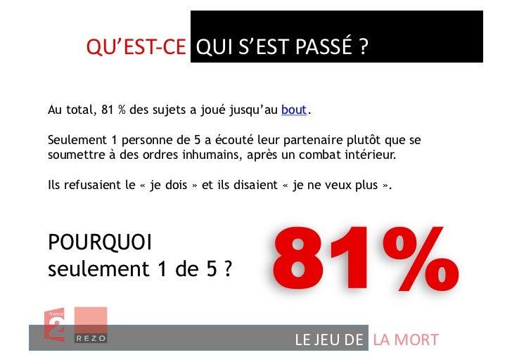 QU'EST-‐CE  QUI S'EST PASSÉ ? Au total, 81 % des sujets a joué jusqu'au bout.Seulement 1 personne de 5 a écouté...