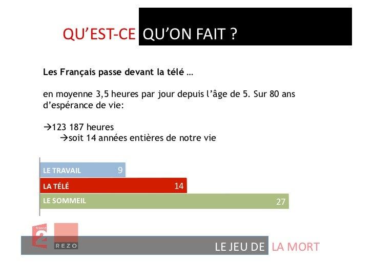 QU'EST-‐CE  QU'ON FAIT ? Les Français passe devant la télé …en moyenne 3,5 heures par jour depuis l'âge de 5. Sur...