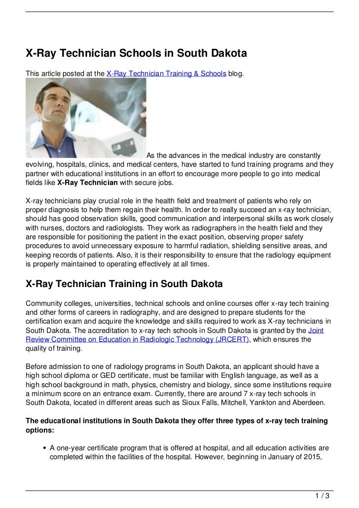 X Ray Technician Schools In South Dakota