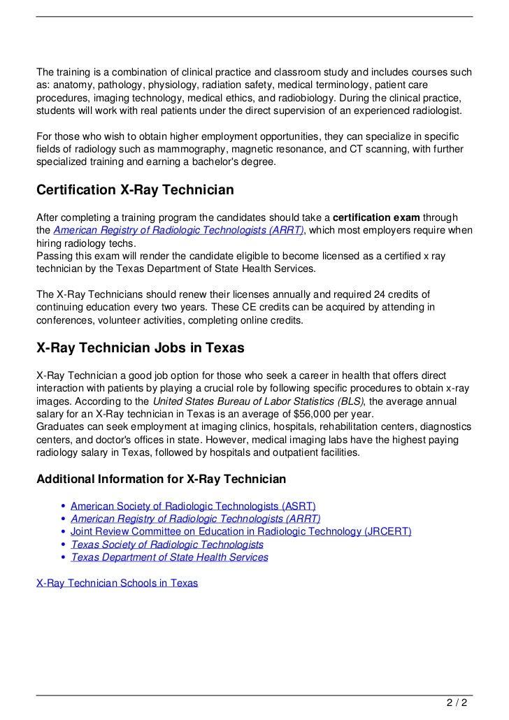 X Ray Technician Schools In Texas