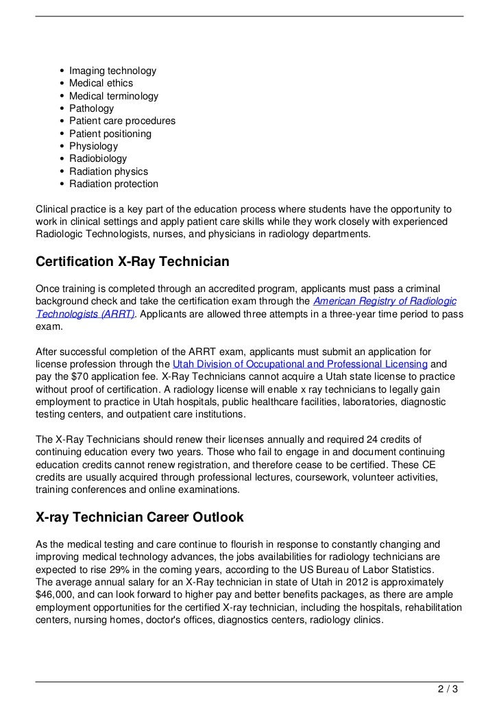 X Ray Technician Schools In Utah