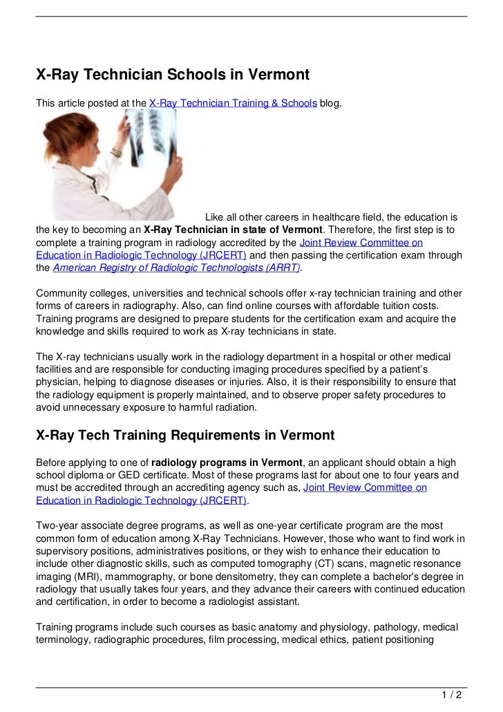 X Ray Technician Schools In Vermont