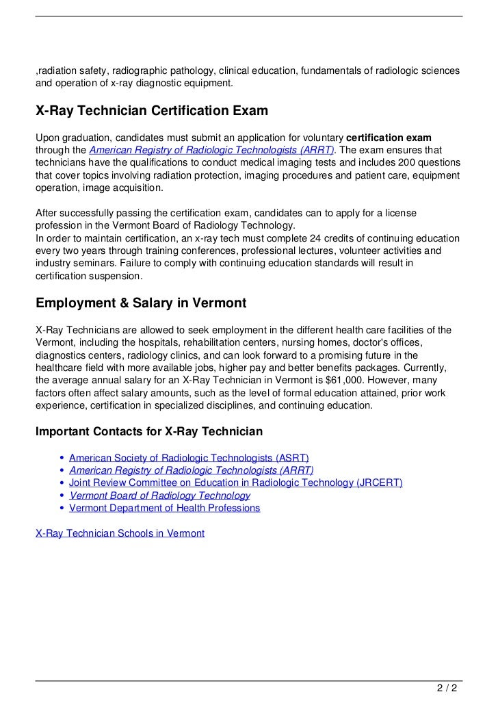 Free Professional Resume X Ray Technician Certification
