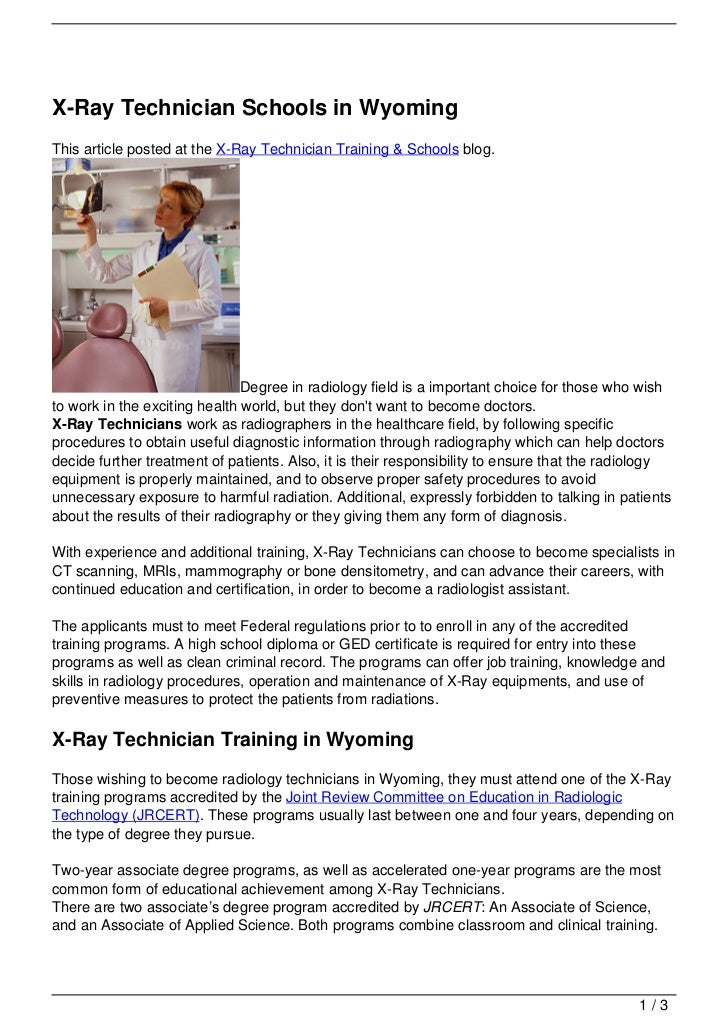 X Ray Technician Schools In Wyoming