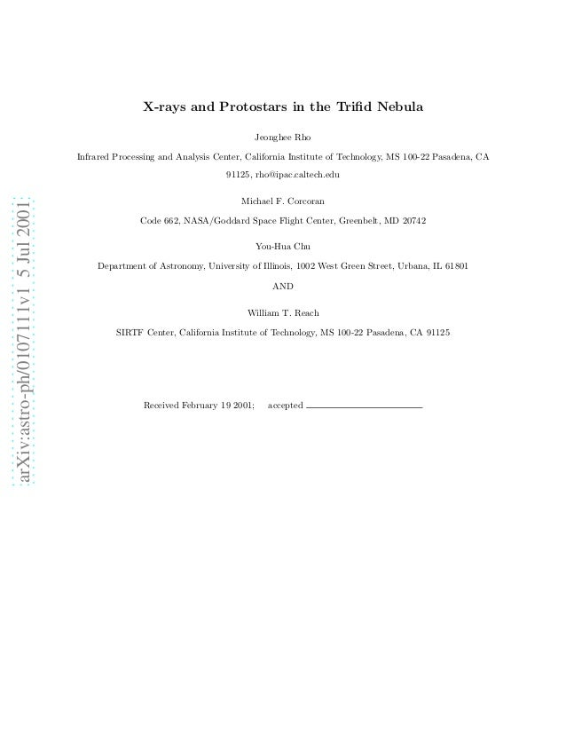 arXiv:astro-ph/0107111v15Jul2001 X-rays and Protostars in the Trifid Nebula Jeonghee Rho Infrared Processing and Analysis C...