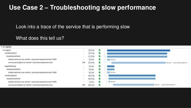 Use Case 2 – Troubleshooting slow performance Look into a trace of the service that is performing slow What does this tell...