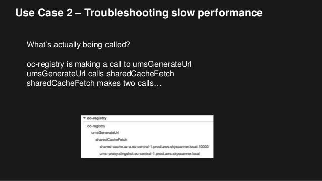 Use Case 2 – Troubleshooting slow performance What's actually being called? oc-registry is making a call to umsGenerateUrl...