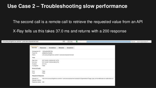 Use Case 2 – Troubleshooting slow performance The second call is a remote call to retrieve the requested value from an API...