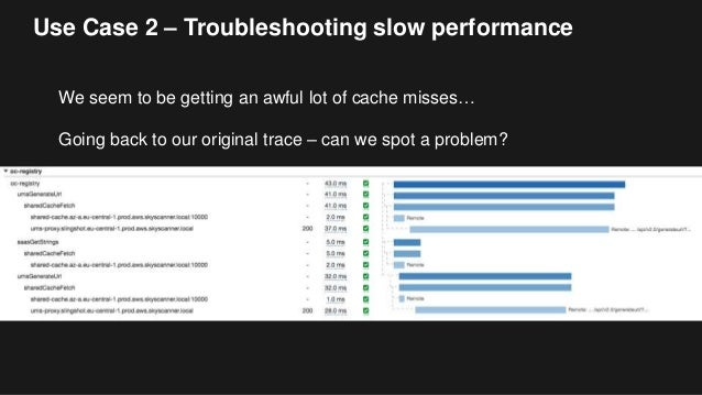 Use Case 2 – Troubleshooting slow performance We seem to be getting an awful lot of cache misses… Going back to our origin...