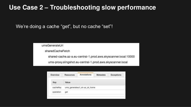 """Use Case 2 – Troubleshooting slow performance We're doing a cache """"get"""", but no cache """"set""""!"""