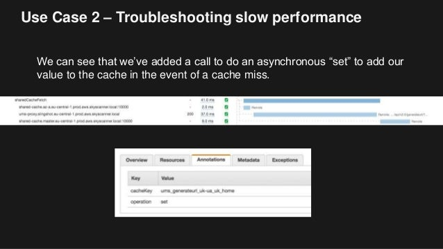 """Use Case 2 – Troubleshooting slow performance We can see that we've added a call to do an asynchronous """"set"""" to add our va..."""
