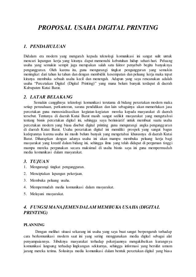 Contoh Proposal Usaha Digital Printing