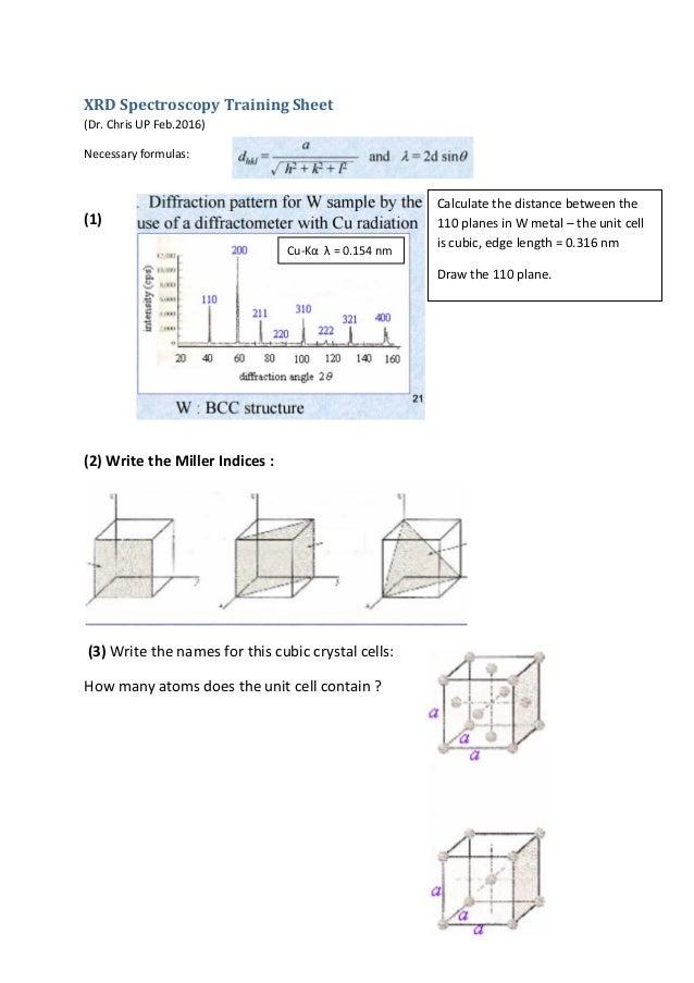 Xrd spectroscopy training sheet xrd spectroscopy training sheet dr chris up feb2016 necessary formulas ccuart Gallery