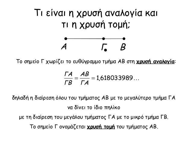 Τι είναι η χρυσή αναλογία και τι η χρυσή τομή; 618033989,1== ΓΑ ΑΒ ΓΒ ΓΑ Το σημείο Γ χωρίζει το ευθύγραμμο τμήμα ΑΒ στη χ...