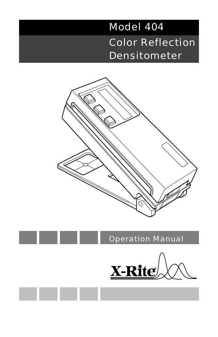 Model 404 Color Reflection Densitometer     Operation Manual