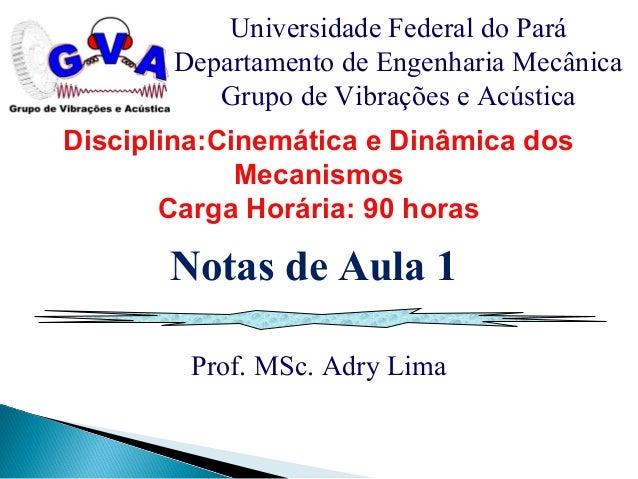 Prof. MSc. Adry Lima Universidade Federal do Pará Departamento de Engenharia Mecânica Grupo de Vibrações e Acústica Notas ...