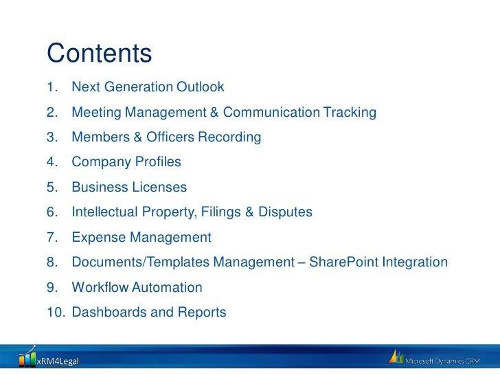 xRM4Legal Corporate Admin & Compliance Slide 2
