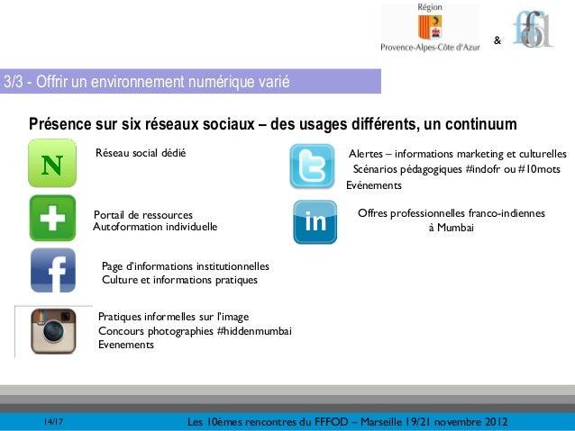 &3/3 - Offrir un environnement numérique varié   Présence sur six réseaux sociaux – des usages différents, un continuum   ...