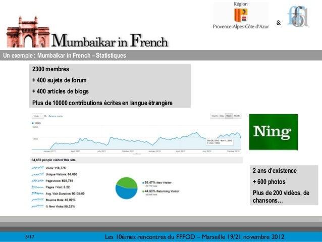 &Un exemple : Mumbaikar in French – Statistiques           2300 membres           + 400 sujets de forum           + 400 ar...
