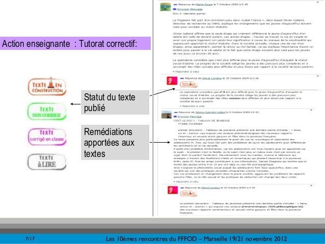 &Action enseignante : Tutorat correctif:                       Statut du texte                       publié               ...