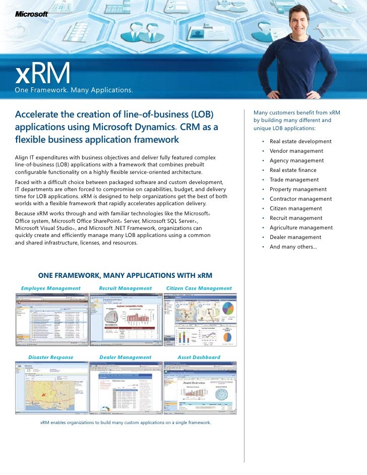 M     xRM One Framework. Many Applications.   accelerate	the	creation	of	line-of-business	(lob)	                          ...
