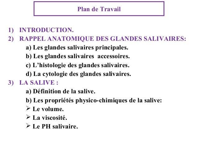 Plan de Travail 1) INTRODUCTION. 2) RAPPEL ANATOMIQUE DES GLANDES SALIVAIRES: a) Les glandes salivaires principales. b) Le...