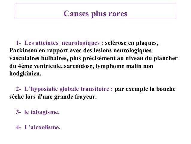 Causes plus rares 1- Les atteintes neurologiques : sclérose en plaques, Parkinson en rapport avec des lésions neurologique...
