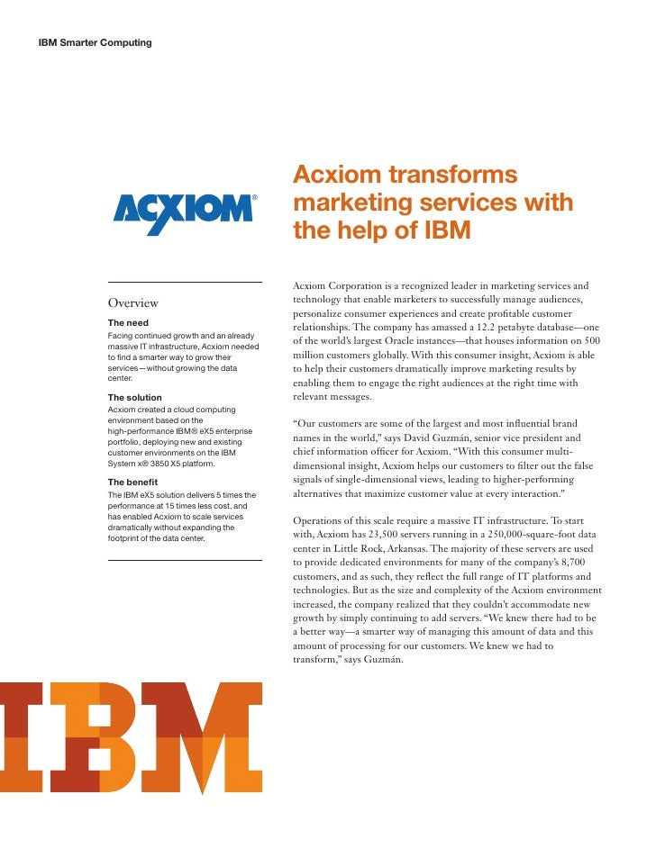 IBM Smarter Computing                                                        Acxiom transforms                            ...