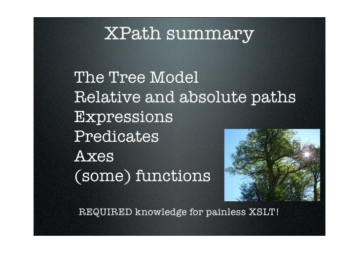 XPath summary  The Tree Model Relative and absolute paths Expressions Predicates Axes (some) functions  REQUIRED knowledge...