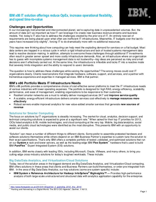 IBM x86 IT solution offerings reduce OpEx, increase operational flexibility, and speed time-to-value