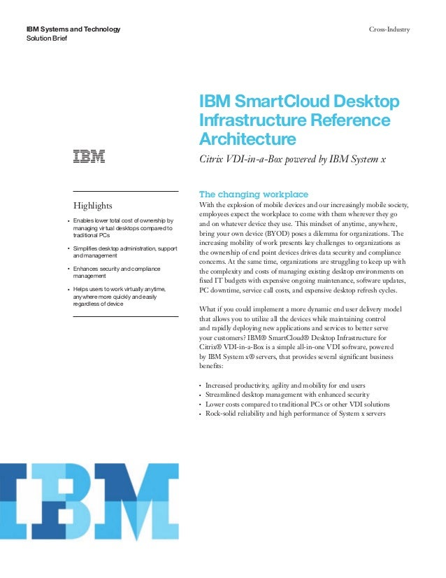 IBM SmartCloud Desktop Infrastructure Reference Architecture