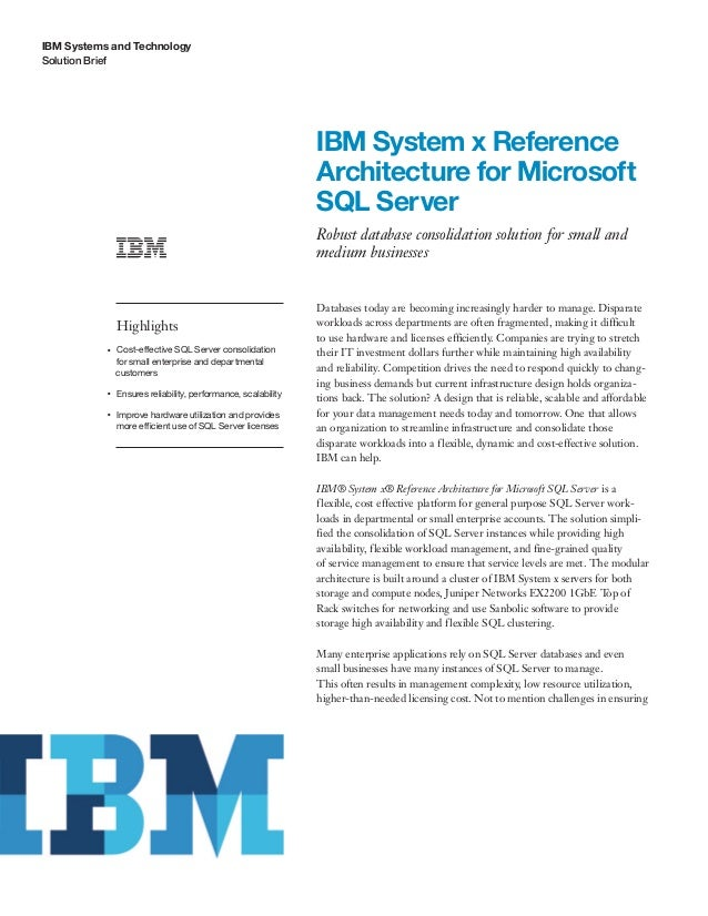 IBM System x Reference Architecture for Microsoft SQL Server