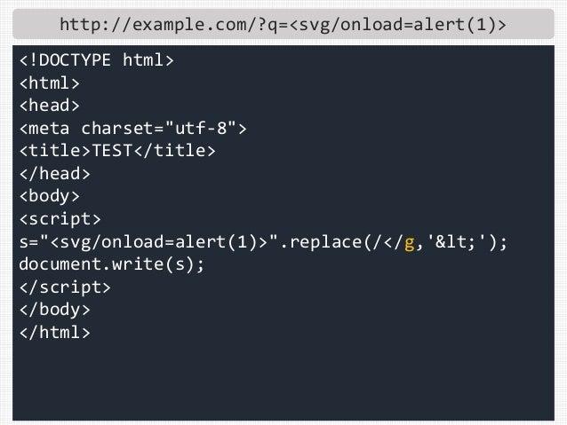 "http://example.com/?q=<svg/onload=alert(1)> <!DOCTYPE html> <html> <head> <meta charset=""utf-8""> <title>TEST</title> </hea..."