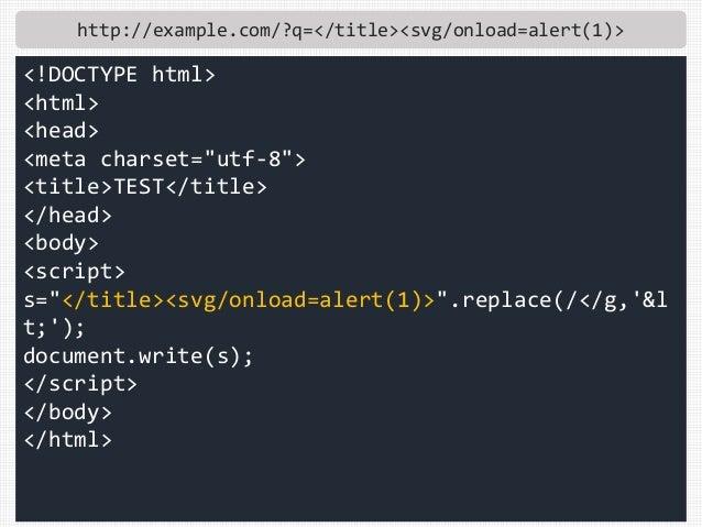 "http://example.com/?q=</title><svg/onload=alert(1)> <!DOCTYPE html> <html> <head> <meta charset=""utf-8""> <title>TEST</titl..."