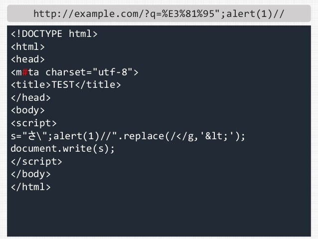 "http://example.com/?q=%E3%81%95"";alert(1)// <!DOCTYPE html> <html> <head> <m#ta charset=""utf-8""> <title>TEST</title> </hea..."