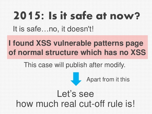2015: Is it safe at now? Let's see how much real cut-off rule is! I found XSS vulnerable patterns page of normal structure...