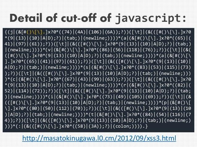 Detail of cut-off of javascript: {(j (&[#()[].]x?0*((74) (4A) (106) (6A));?))([t] (&(([#()[].]x?0 *(9 (13) (10) A D);?) (t...
