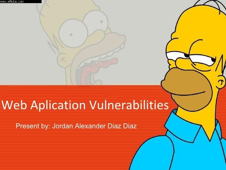 Web Aplication Vulnerabilities Present by: Jordan Alexander Diaz Diaz