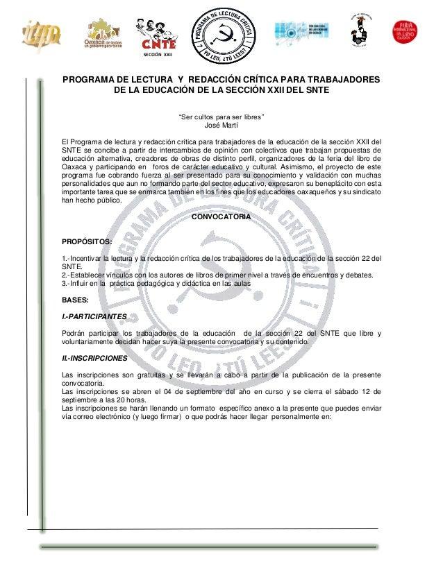 """SECCIÓN XXII  PROGRAMA DE LECTURA Y REDACCIÓN CRÍTICA PARA TRABAJADORES  DE LA EDUCACIÓN DE LA SECCIÓN XXII DEL SNTE  """"Ser..."""