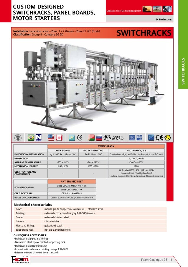 YOUR PARTNER FOR SAFETY Since 1961 Explosion Proof Electrical Equipment SWITCHRACKS Feam Catalogue 03 - 1 Switchracks On R...