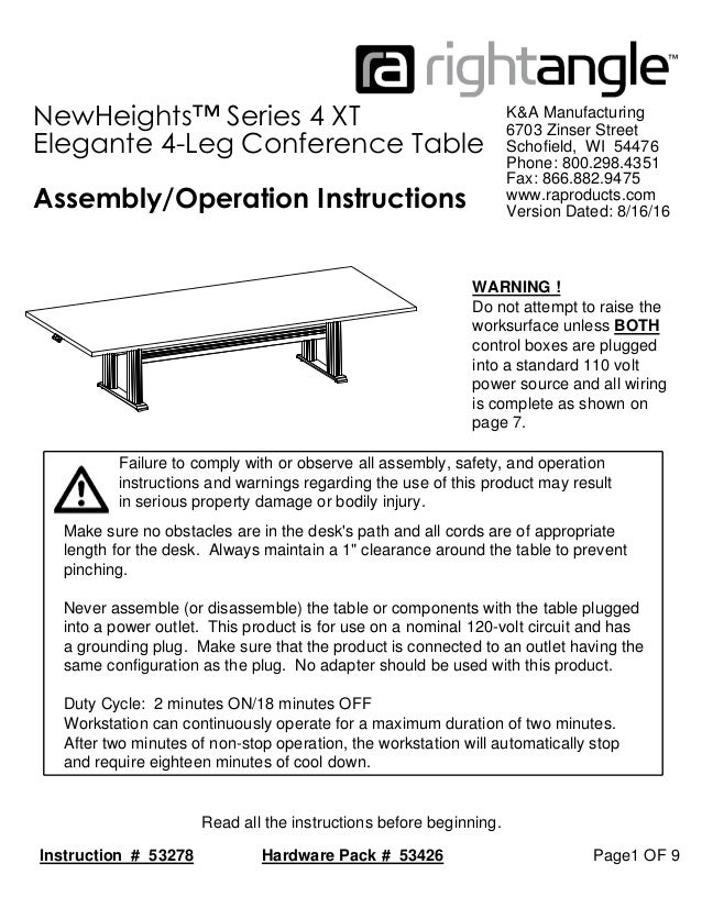 xt 4 leg conference table instructions
