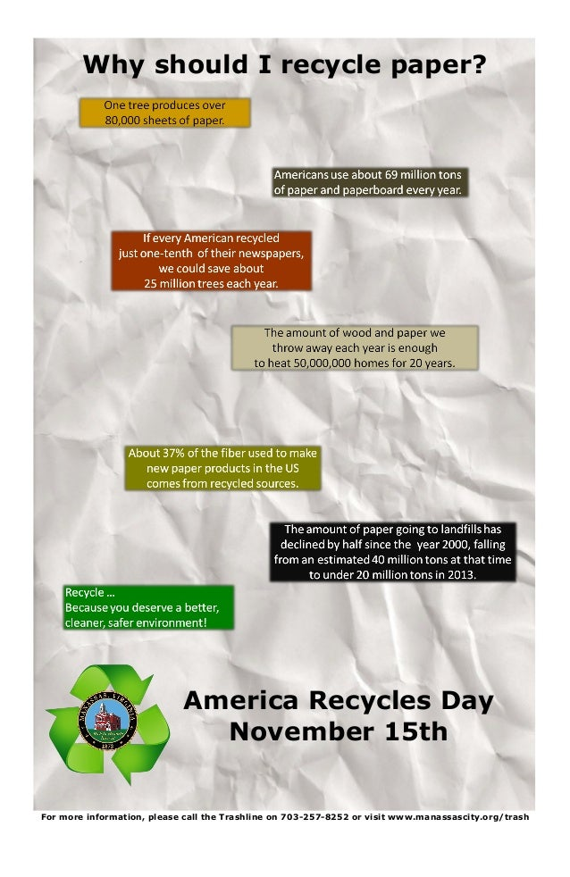 America Recycles Day November 15th Why should I recycle paper? For more information, please call the Trashline on 703-257-...