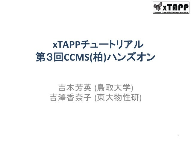 XTAPPeXtended Tokyo Ab-initio Program Package  xTAPPチュートリアル   第3回CCMS(柏)ハンズオン 吉本芳英 (鳥取大学)   吉澤香奈子 (東大物性研) 1