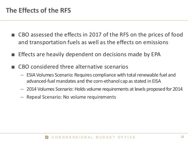 12C O N G R E S S I O N A L B U D G E T O F F I C E The Effects of the RFS ■ CBO assessed the effects in 2017 of the RFS o...