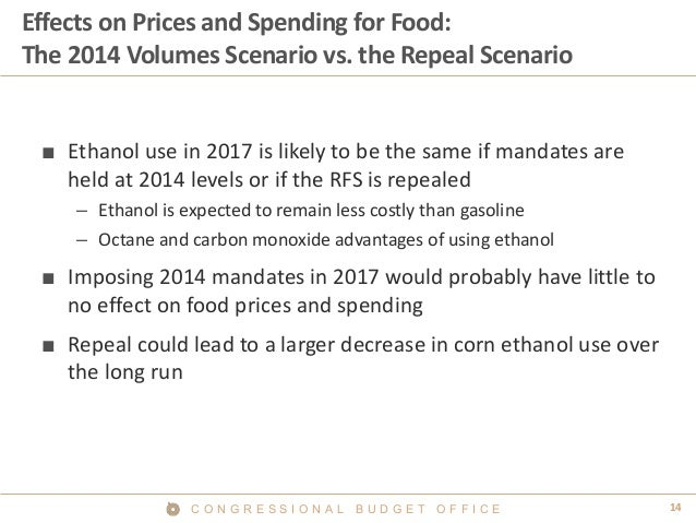 14C O N G R E S S I O N A L B U D G E T O F F I C E Effects on Prices and Spending for Food: The 2014 Volumes Scenario vs....