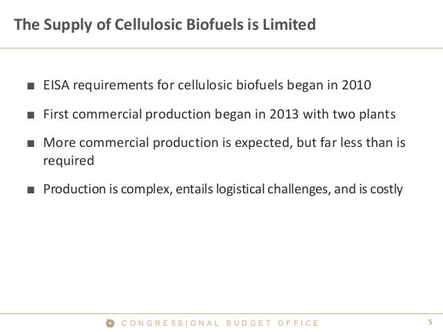 5C O N G R E S S I O N A L B U D G E T O F F I C E The Supply of Cellulosic Biofuels is Limited ■ EISA requirements for ce...