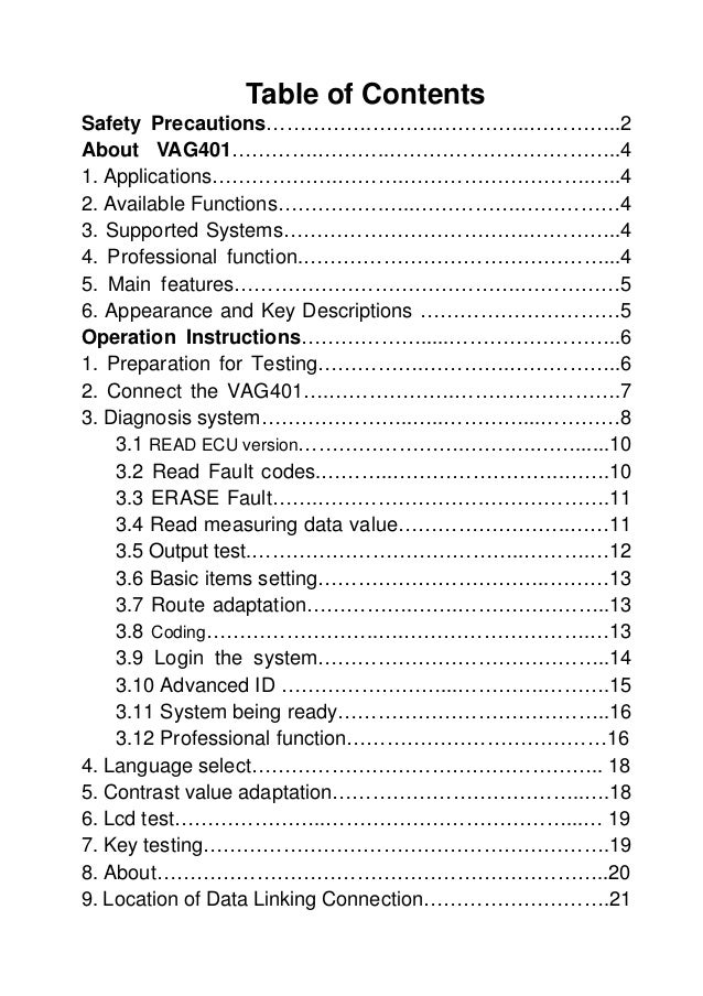 Table of Contents Safety Precautions…………….……….…………..…………..2 About VAG401………….………..……………………………..4 1. Applications……………….………...