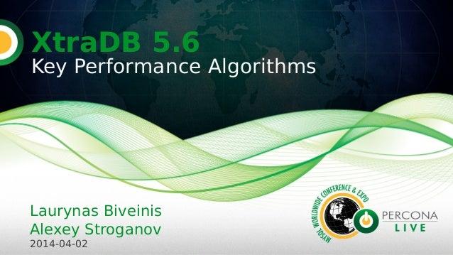 XtraDB 5.6 Key Performance Algorithms Laurynas Biveinis Alexey Stroganov 2014-04-02