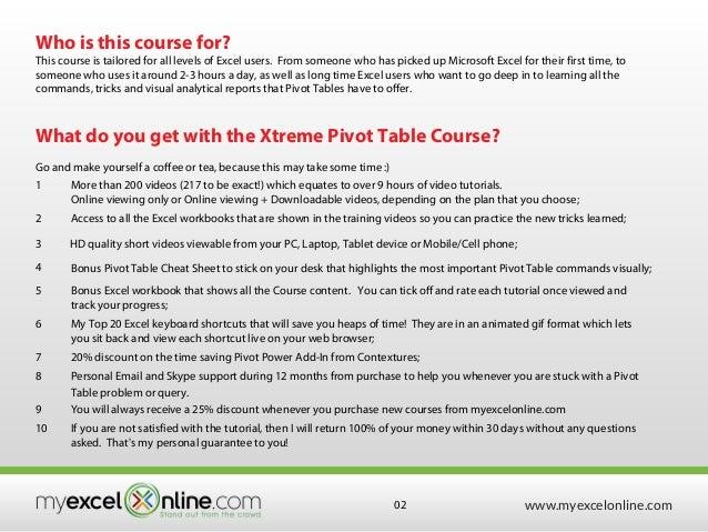 excel pivot table course syllabus